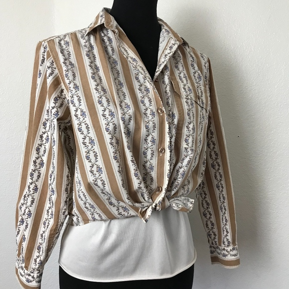 54859eb397d Talbots Striped and Floral Petite Blouse Size 8P
